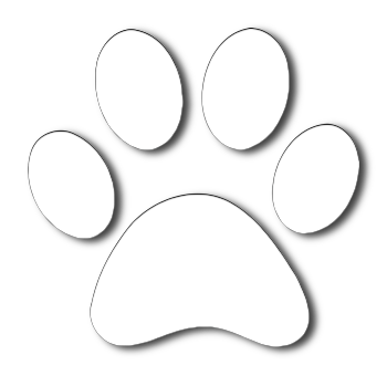 red barn logo paw white